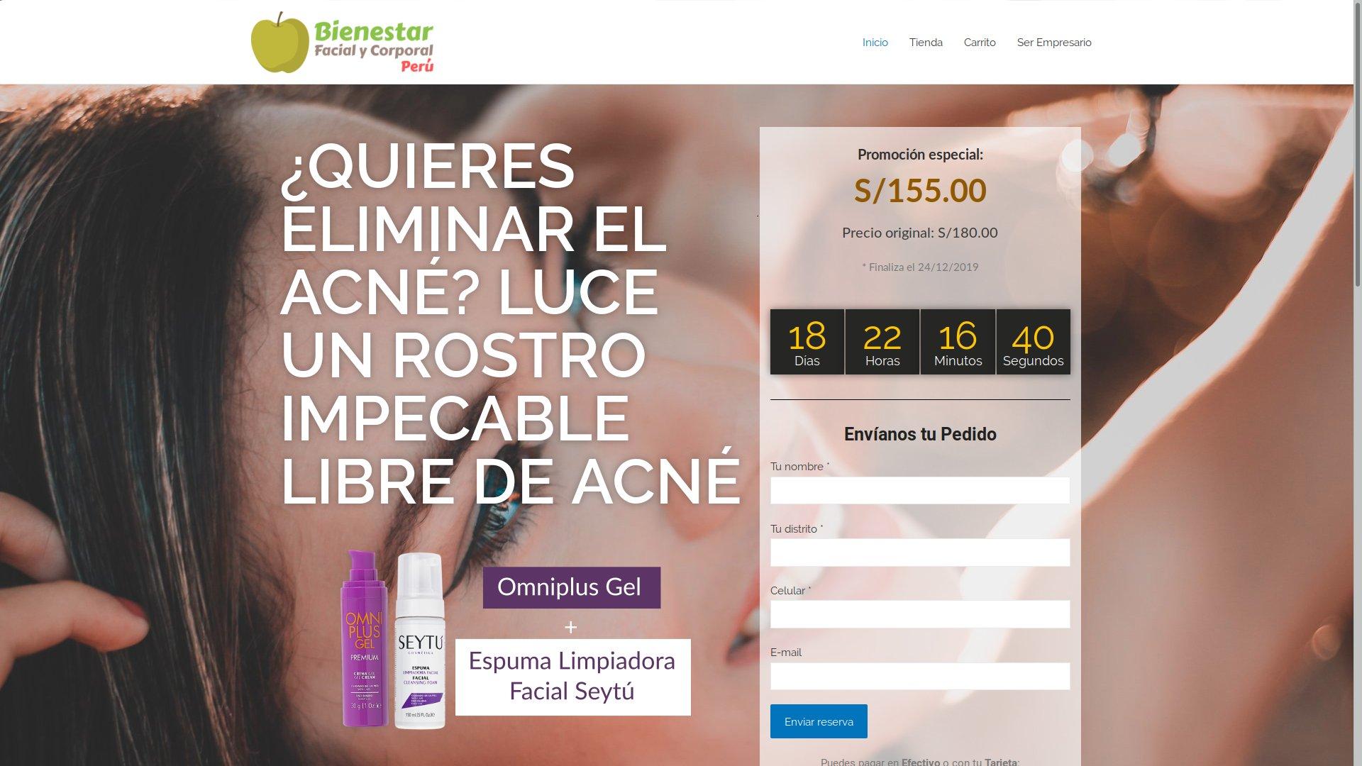 Diseño y desarrollo web: Bienestar Facial y Corporal Perú